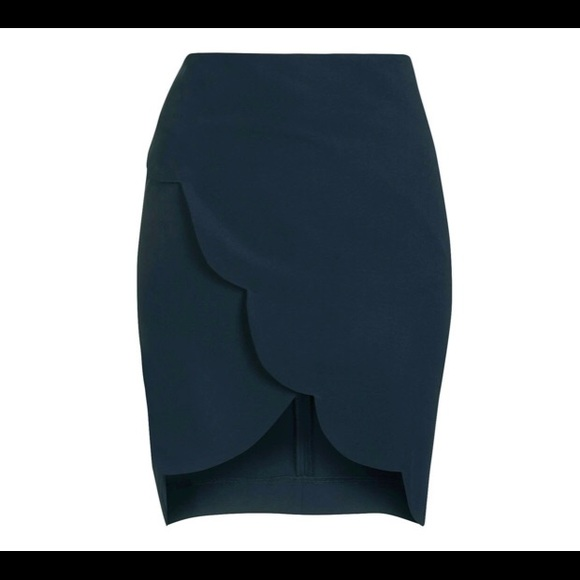 Topshop | Navy Scallop Wrap Skirt